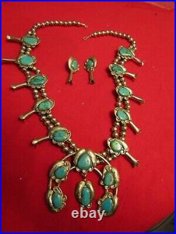 Vintage NAVAJO TURQUOISE SQUASH BLOSSOM NECKLACE & EARRINGS SET SIGNED