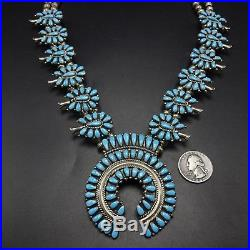 Vintage NAVAJO Turquoise PETIT POINT Cluster Sterling SQUASH BLOSSOM Necklace