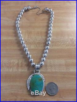Vintage Native Am Large Turquoise Pendant Necklace Sterling Silver Beads 925