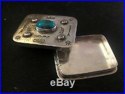 Vintage Native American BisBee Stamped Sterling Silver Pill Box