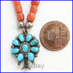 Vintage Native American Coral Bead Necklace + Turquoise Squash Blossom Pendant