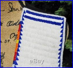 Vintage Native American Fully Beaded Vest Black Suede Lazy Stitch Star Pattern