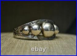 Vintage Native American Harvey Era Sterling Silver Cuff Bracelet