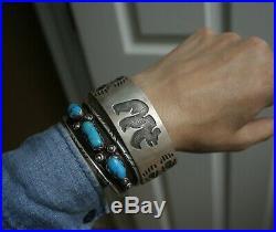 Vintage Native American Hopi Sterling Silver Cuff Bracelet Large Size