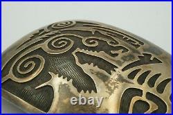 Vintage Native American Hopi Sterling Silver Overlay Grizzly Bear Belt Buckle