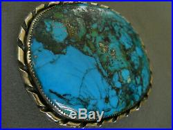 Vintage Native American Indian Rich Blue Turquoise Sterling Silver Belt Buckle