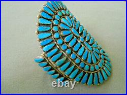Vintage Native American Indian Turquoise Cluster Sterling Silver Cuff Bracelet