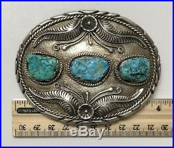 Vintage Native American Navaho Sterling Silver And Turquoise Belt Buckle