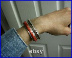 Vintage Native American Navajo Carinated Sterling Silver Cuff Bracelet