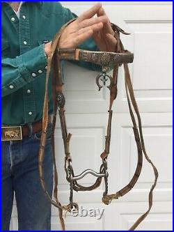 Vintage Native American Navajo Headstall Bridle withNaja & Bit. Silver & Turquoise
