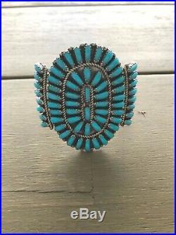 Vintage Native American Navajo Large Turquoise Squash Blossom Bracelet