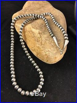 Vintage Native American Navajo Pearls 7mm Sterling Silver Bead Necklace 22