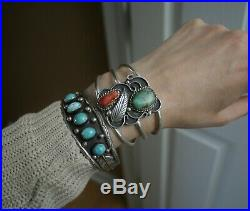 Vintage Native American Navajo Sterling Silver Coral Turquoise Cuff Bracelet