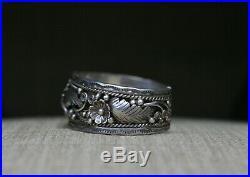 Vintage Native American Navajo Sterling Silver Foliate Cuff Bracelet