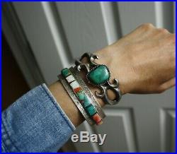 Vintage Native American Navajo Sterling Silver Sandcast Turquoise Cuff Bracelet