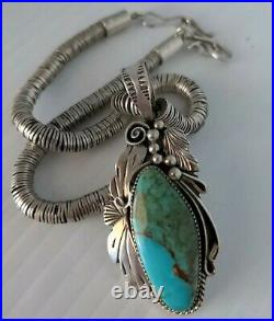 Vintage Native American Navajo Sterling Turquoise Pendant and Neckkace 82 gr
