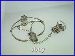 Vintage Native American Navajo Sterling Turquoise Slave Bracelet! Signed Kc