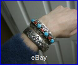 Vintage Native American Navajo Turquoise Coral Sterling Silver Cuff Bracelet