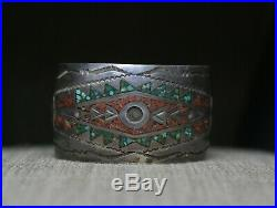 Vintage Native American Navajo Turquoise Inlay Sterling Silver Cuff Bracelet