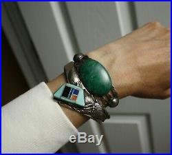Vintage Native American Navajo Turquoise Lapis Sterling Silver Cuff Bracelet
