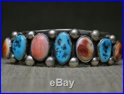 Vintage Native American Navajo Turquoise Spiny Oyster Sterling Silver Bracelet