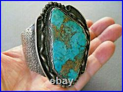 Vintage Native American Navajo Turquoise Sterling Silver Stamped Cuff Bracelet