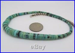 Vintage Native American Navojo Graduaded Turquoise Heishi Necklace 16