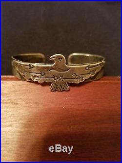 Vintage Native American Old Pawn Sterling Silver Flying Thunderbird Bracelet