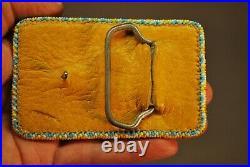Vintage Native American Plains Indian White Buffalo Beaded Belt Buckle 3 1/2