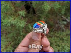 Vintage Native American Ring John Mike signed Men's Old Pawn Navajo Zuni 13 1/4