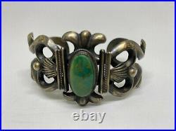 Vintage Native American Sandcast Silver & Turquoise Cuff Bracelet Antique 2 oz