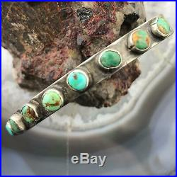 Vintage Native American Silver Single Row Turquoise Slim Cuff Bracelet For Women