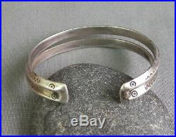 Vintage Native American Silver Stamped Double Carinated Wire Cuff Bracelet Sm