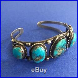 Vintage Native American Silver & Turquoise 5 Stone Cuff Bracelet Old style