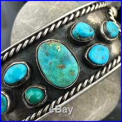 Vintage Native American Silver Turquoise Bracelet Cuff For Men Or Women