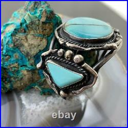 Vintage Native American Silver Turquoise Cuff Bracelet For Women