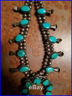 Vintage Native American Squash Blossom Necklace Silver