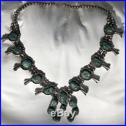 Vintage Native American Squash Blossom Silver & Turquoise Necklace Heavy