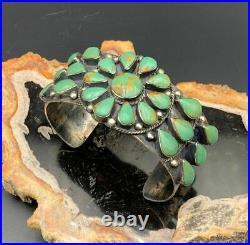 Vintage Native American Sterling & Green Kingman Turquoise Cuff Bracelet
