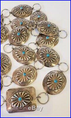 Vintage Native American Sterling Silver Concho Belt Repousse Turquoise