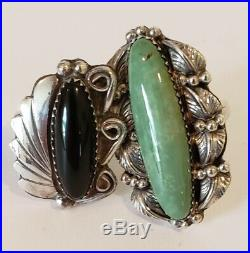 Vintage Native American Sterling Silver Ring Lot Turquoise