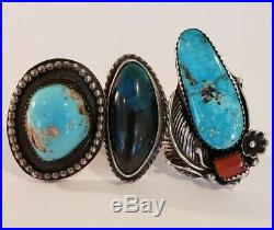 Vintage Native American Sterling Silver Ring Lot Turquoise & Coral