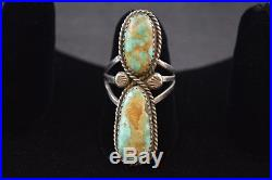 Vintage Native American Sterling Silver Ring w Large Turquoise Gemstone 7.6g
