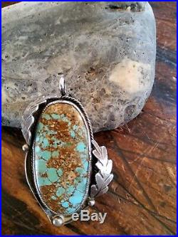 Vintage Native American Sterling Silver Royston Spiderweb Turquoise Pendant 30g