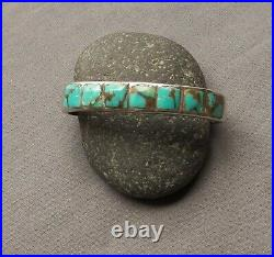 Vintage Native American Sterling Silver Square Turquoise Row Cuff Bracelet