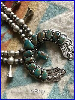 Vintage Native American Sterling Silver Squash Blossom Necklace Turquoise signed