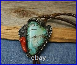 Vintage Native American Sterling Silver Turquoise Coral Bolo Tie