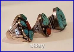 Vintage Native American Sterling Silver Turquoise, Coral Mens Ring Lot