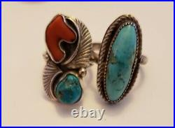 Vintage Native American Sterling Silver Turquoise & Coral Ring Lot