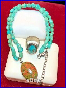 Vintage Native American Sterling Silver Turquoise Necklace & Ring Southwestern